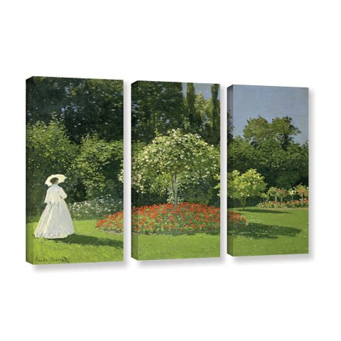 Bridgeman Claude Monet's 'Jeanne Marie Lecadre in The Garden' 3 Piece Gallery Wrapped Canvas Set