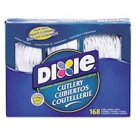 Dixie Combo Pack Tray/White Plastic Utensils 56 Forks 56 Knives 56 Spoons 6 Packs