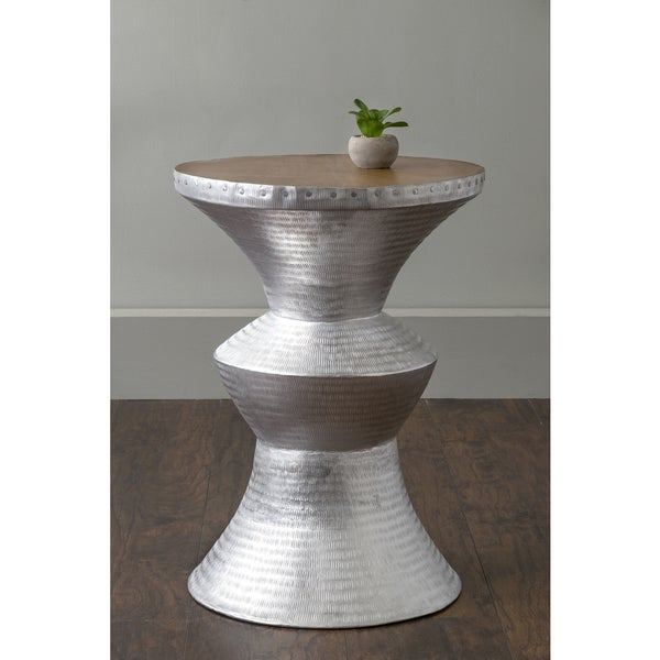 Good East At Mainu0026#x27;s Jackson Silver Round Transitional Aluminum Accent Table
