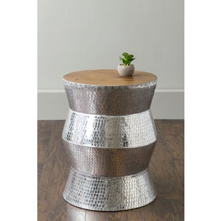 East At Main's Hardy Silver Round Transitional Aluminum Accent Table