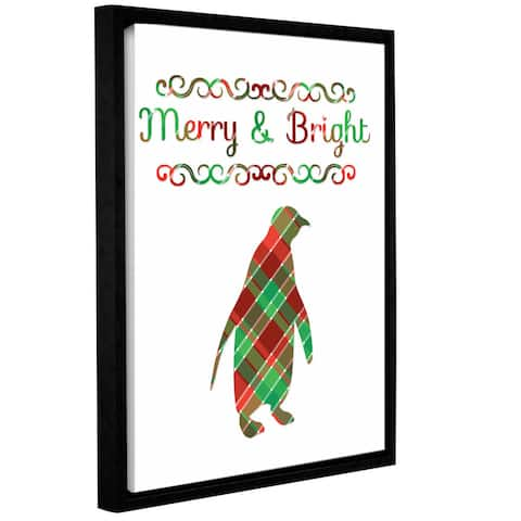 Tara Moss's 'Plaid Penguin Merry and Bright' Gallery Wrapped Floater-framed Canvas - Green