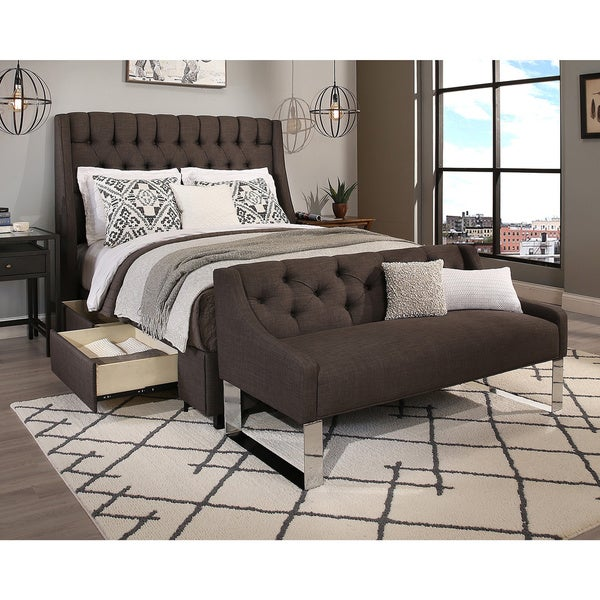 size grey tufted headboard storage bed and tufted sofa bench set