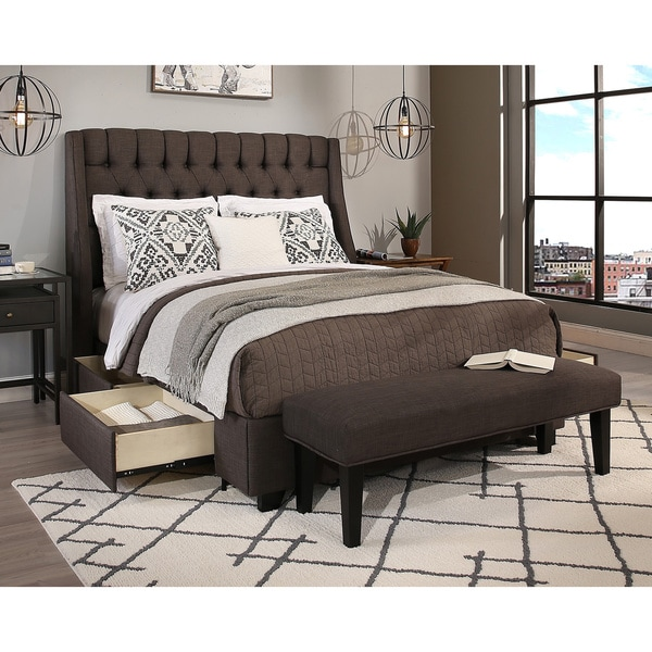 Republic Design House Queen Size Cambridge Grey Headboard, Storage Bed And  Bench Collection