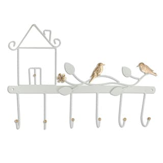 Ikee Design Off-white Wall-mounted 6-hook Lifelike Birds Coat Rack