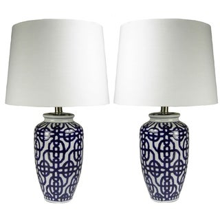 JT Lighting Cale Ceramic Handpainted Lamps (Set of 2)