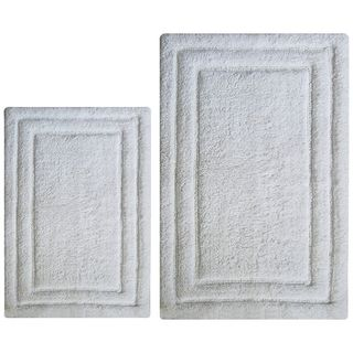 Classic White Cotton 2-piece Bath Rug Set