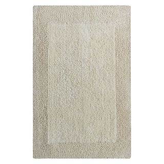 Benzara Splendor Ivory Cotton Reversible Bath Rug (21 inches x 34 inches)