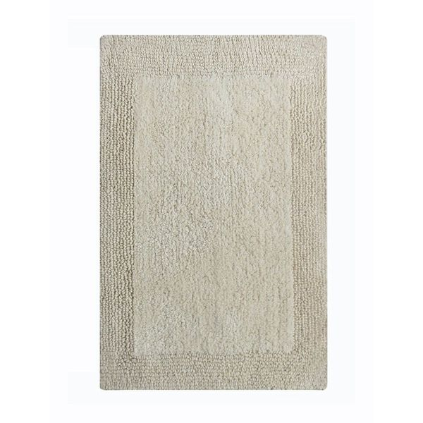 Benzara Splendor Ivory Cotton 24 x 40 Reversible Bath Rug