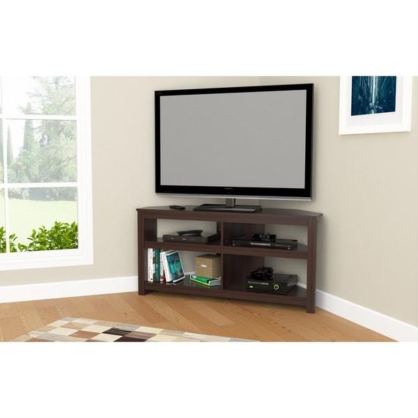 Corner Tv Stand Designs : Shop inval contemporary espresso corner tv stand free