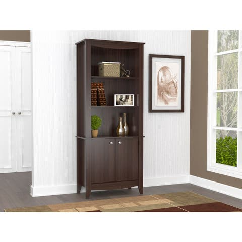 Inval Espresso Contemporary Bookcase with Doors