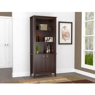Inval Espresso Contemporary Bookcase with Doors|https://ak1.ostkcdn.com/images/products/13914605/P20548933.jpg?impolicy=medium