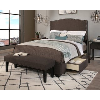 Republic Design House King/Cal King Size Newport Grey Headboard, Storage Bed and Bench Collection