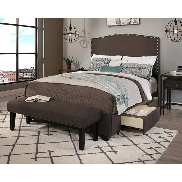 Republic Design House King/Cal King Size Newport Grey Headboard, Storage Bed  And Bench