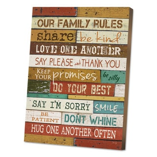DAX Motivational Poster 16 x 20 inchesOur Family Rules inches Dark Walnut