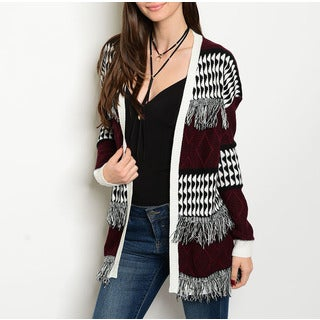 JED Women's Burgundy/White Acrylic Multi-patterned Cardigan