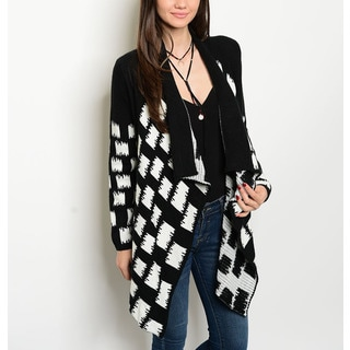 JED Women's Black and White Acrylic Geometric Print Long-sleeve Cardigan