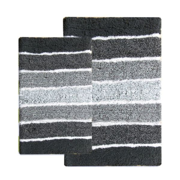 Benzara Cordural Grey Charcoal Cotton Mixed Bath Rug Set (Set of 2 Pieces)