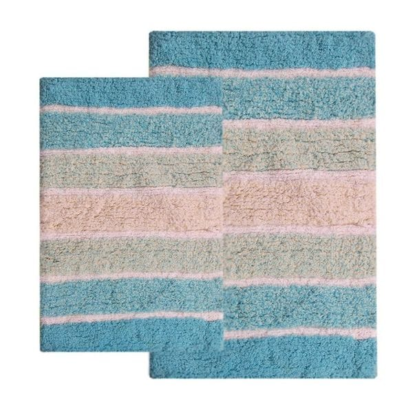 Benzara Cordural Turquoise Cotton Mixed Bath Rug Set (Set of 2 Pieces)