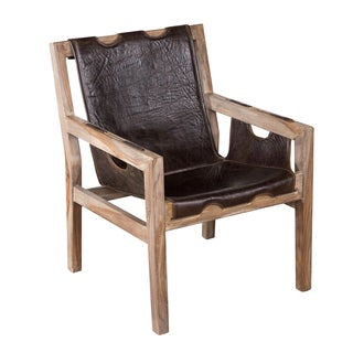 Organic Leather and Sheesham Wood Angled Sling Chair (India)