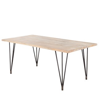Handmade Industrial Hairpin Blanched Mango Wood Dining Table (India)