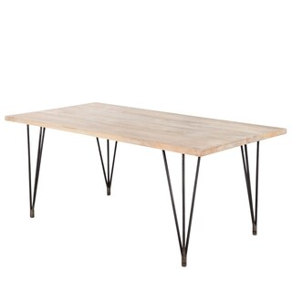 """CG Sparks Handmade Industrial Hairpin Blanched Mango Wood 70"""" Dining Table (India)"""