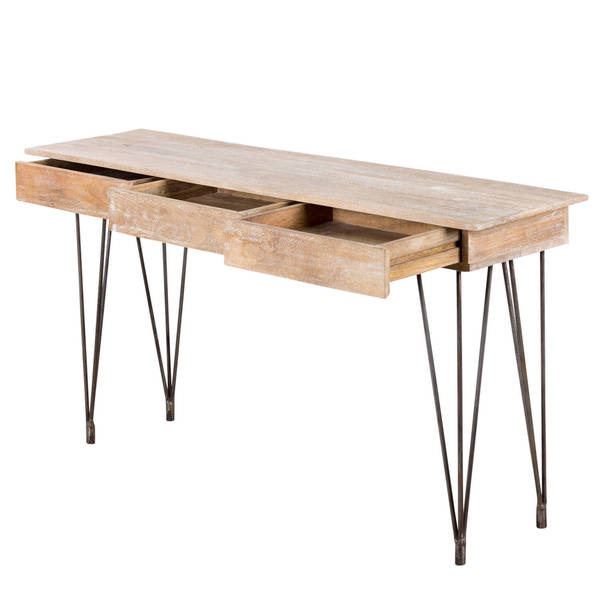 Handmade Industrial Hairpin Mango Wood 3 Drawer Console Table (India)