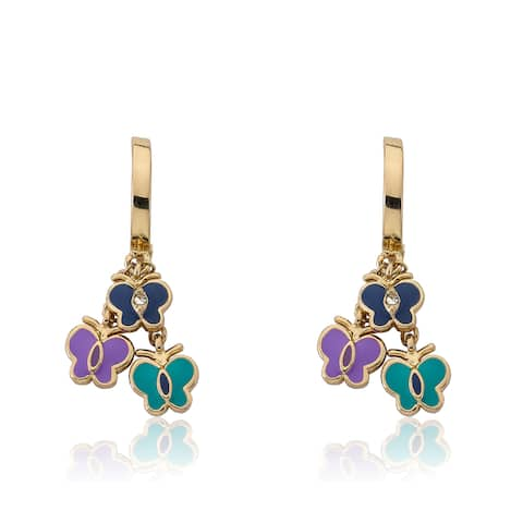 Little Miss Twin Stars Charming Treats Hoop Earring with Navy, Turquoise Ename