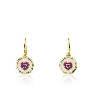 Little Miss Flower Girl Goldplated Coin Pearl/ Enamel Heart Accented Dangle Leverback Earrings