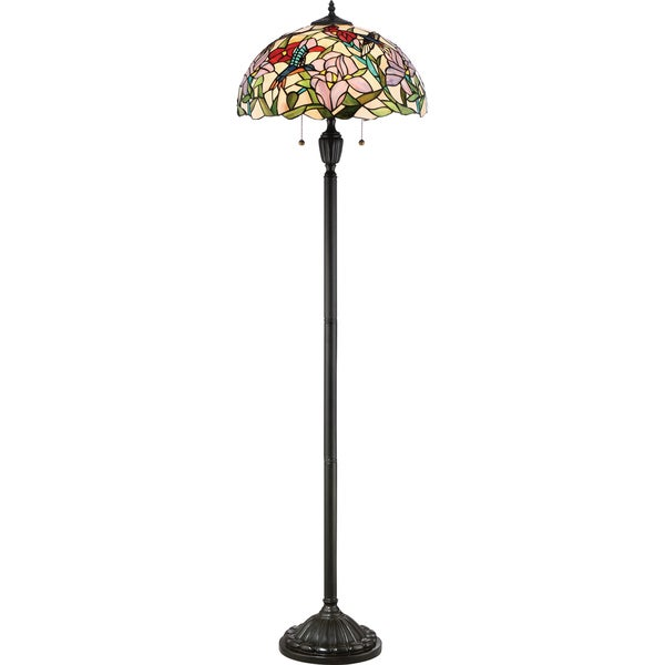 Quoize Hummingbird Bronze Resin and Glass Floor Lamp