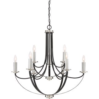 Quoize Alana Mystic Black Finish Two-tier 9-light Chandelier