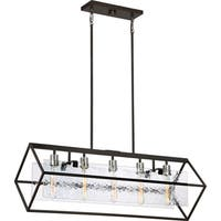Quoizel Caravan Glass Shade and Steel Western Bronze Finish 5-light Island Chandelier