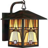 Gracewood Hollow Poradeci Valiant Bronze Finish Multicolored Glass Medium Wall Lantern