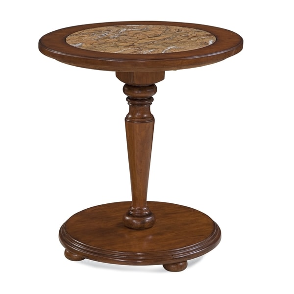 Palmetto Brown Hardwood Inset-marble Pedestal Table by Greyson Living