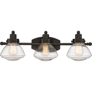 Quoizel Scholar Palladian Bronze Steel and Glass 3-light Bath Light Fixture