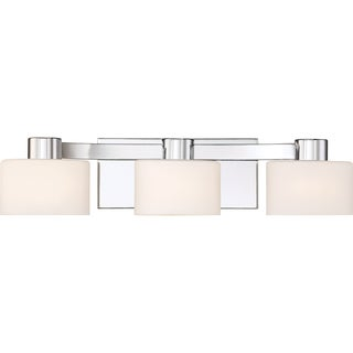 Quoizel Tatum Polished Chrome Finish Steel and Glass 3-light Bath Fixture