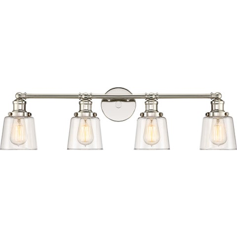 Quoize Union Polished Nickel-finish Steel and Glass 4-light Bath Light Fixture