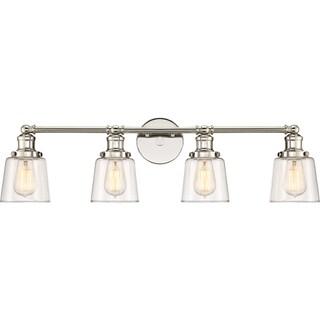 Quoizel Union Polished Nickel-finish Steel and Glass 4-light Bath Light Fixture