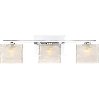 Quoizel Westcap Polished Chrome Finished 3-light Bath Fixture with Frosted Glass Shades