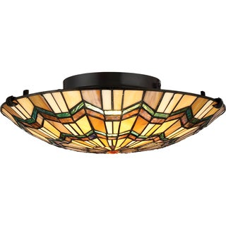 Quoizel Alcott Valiant Bronze Finish Steel and Glass Large Floating Flush Mount