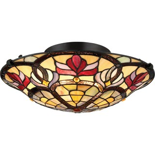 Quoizel Garland Bronze-finished Glass Large Floating Flush-mount Ceiling Fixture