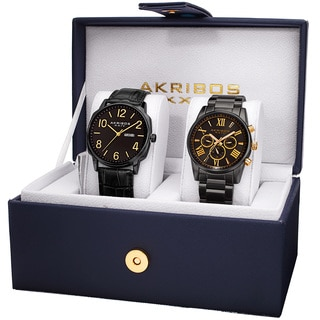 Akribos XXIV Men's Quartz Multifunction Leather Stainless Steel Black Bracelet Strap Watch Set