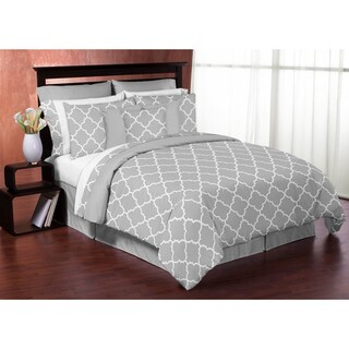 Sweet Jojo Designs Grey and White Trellis Full/Queen 3-piece Comforter Set