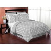 Sweet Jojo Designs Grey and White Trellis Full/Queen 3-piece Comforter Set