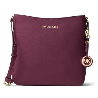 Michael Kors Plum Large Jet Set Travel Crossbody Handbag
