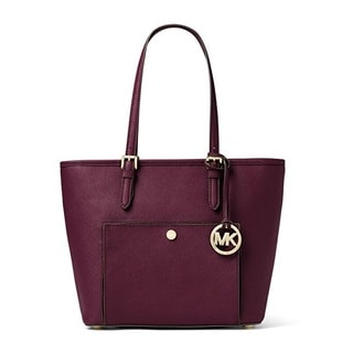 Michael Kors Jet Set Plum Large Snap Pocket Tote Bag
