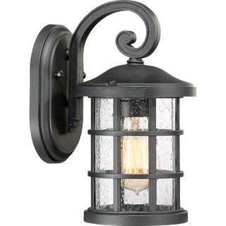 Quoizel Crusade Earth Black Finish Glass Small Wall Lantern