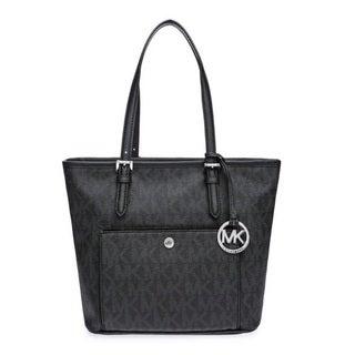 Michael Kors Medium Jet Set Black Logo Top Zip Snap Tote Bag