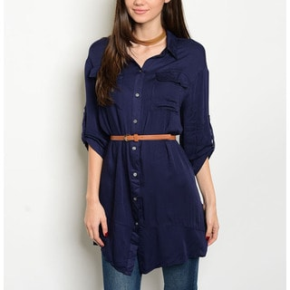 JED Women's Cotton/ Rayon Belted Button-down Tunic Shirt