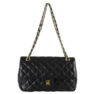 Diophy Faux-leather Quilted Pattern Turn Lock Flap Medium Crossbody Handbag with Wallet