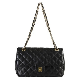 Diophy Faux-leather Quilted Pattern Turn Lock Flap Medium Crossbody Handbag with Wallet (2 options available)